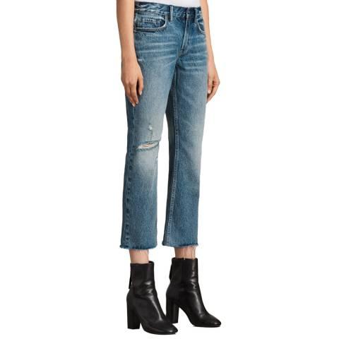 AllSaints Mid Blue Serene Destroy Kick Jeans