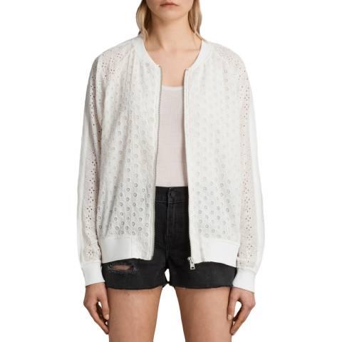 AllSaints White Cyndi Bomber Jacket