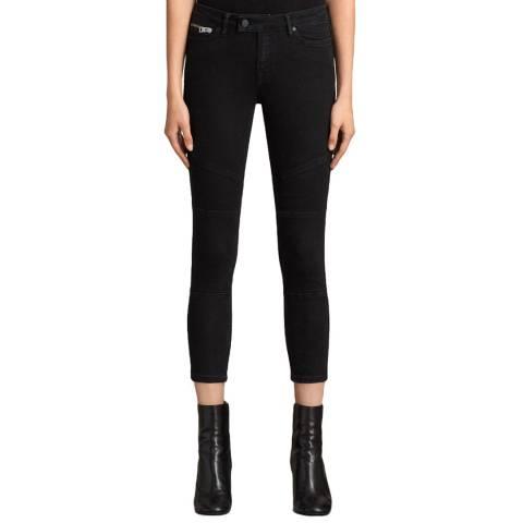 AllSaints Black Biker Cropped Jeans