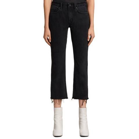 AllSaints Black Serene Cropped Kick Jeans