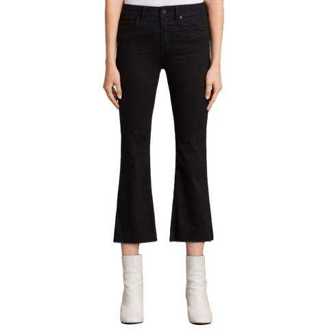 AllSaints Black Heidi Cropped Flare Jeans