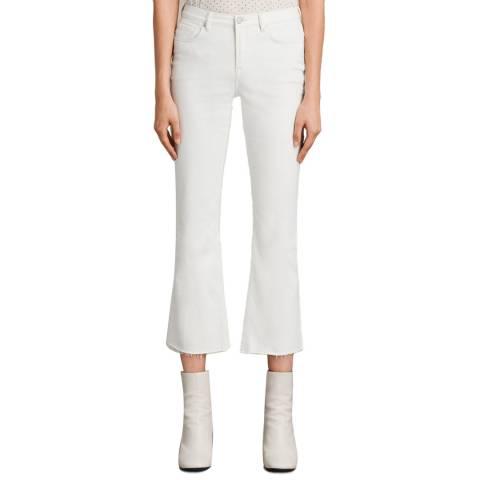AllSaints White Zoe Cropped Bootcut Jeans