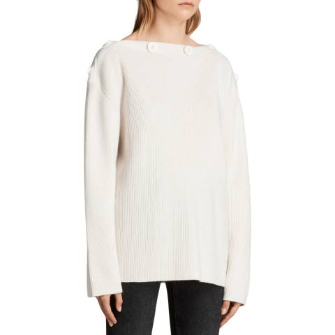 AllSaints White Faye Wool Blend Jumper