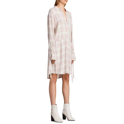 AllSaints Pink Check Florence Shirt Dress