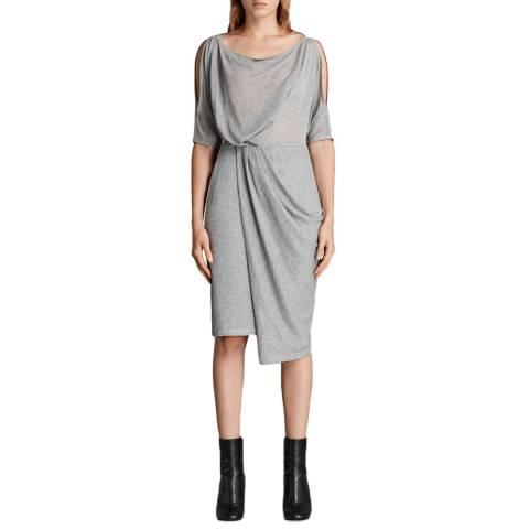 AllSaints Silver Grey Sina Shimmer Dress