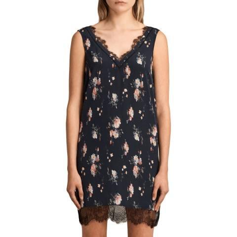AllSaints Blue Camia Meadow Silk Dress