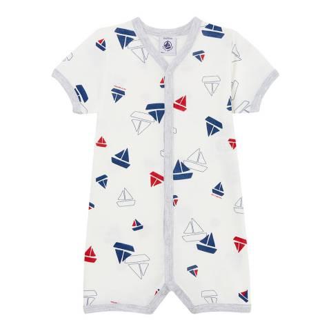 Petit Bateau Off White/Sailboat Print Baby Shortie