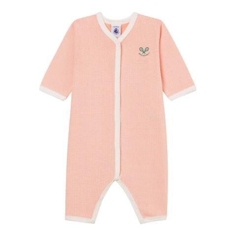 Petit Bateau Pink/Off White Sleepsuit