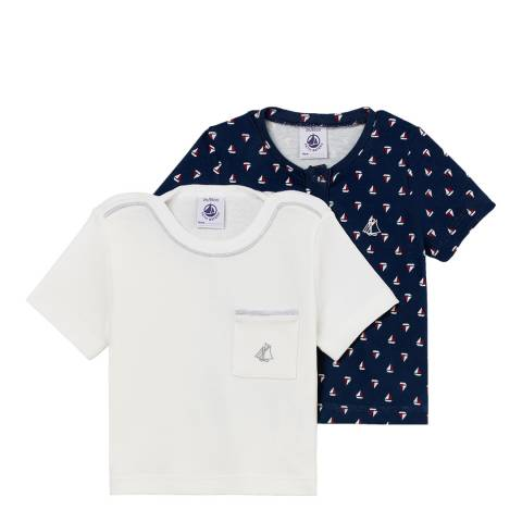 Petit Bateau White/Navy Sailboat Print Pack Of 2 T-Shirts