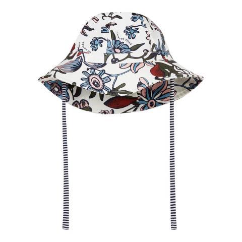 Petit Bateau Off White/Floral Print Sun Hat