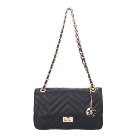 Markese Black Leather Chevron Detail Shoulder Bag