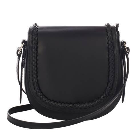 Giulia Massari Black Leather Braid Crossbody Bag