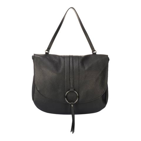 Giorgio Costa Black Leather Chevron Crossbody Bag