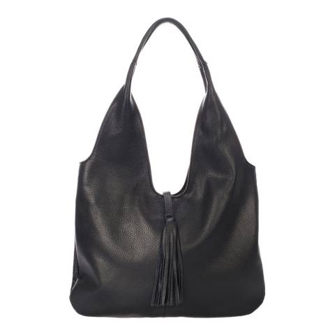 Massimo Castelli Black Leather Tassel Detail Bag