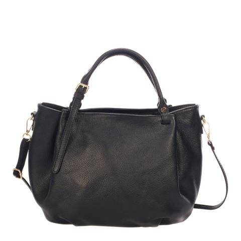 Giorgio Costa Black Leather Relaxed Top Handle Bag