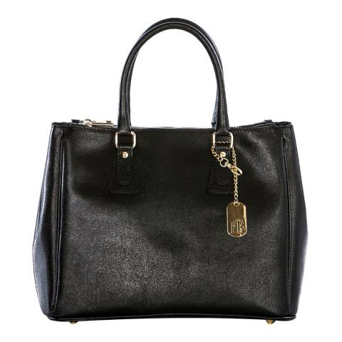 Federica Bassi Black Croc Leather Tote Bag