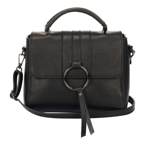Lisa Minardi Black Leather Ring Detail Satchel Bag