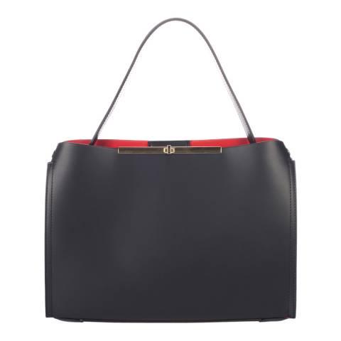 Lisa Minardi Black Leather Red Lined Top Handle Bag