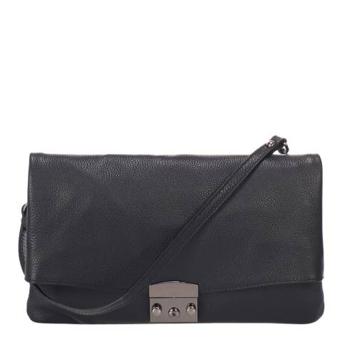 Federica Bassi Black Leather Clutch Bag