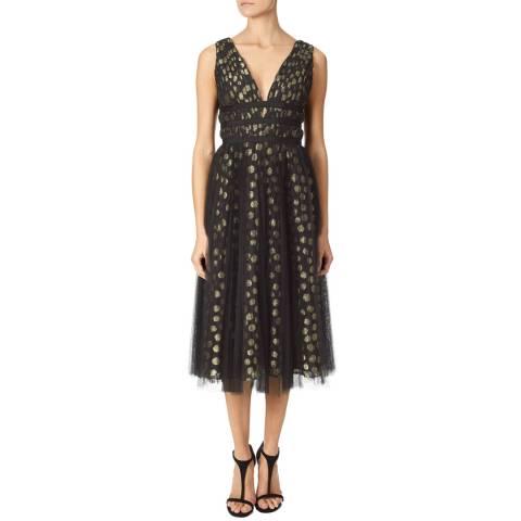 Adrianna Papell Gold/Black Deep V-Neck Dress