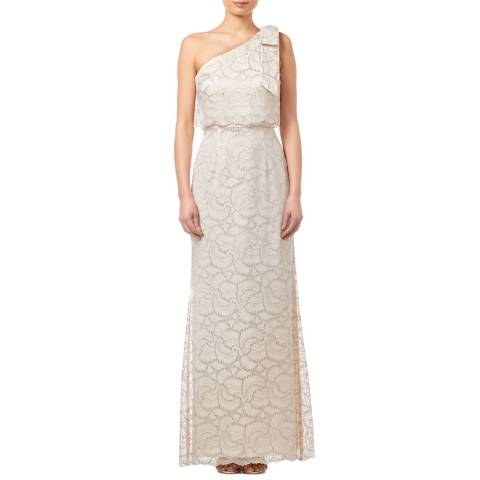 Adrianna Papell Champagne Metallic Lace gown