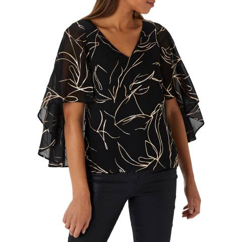 Coast Black/ Gold Indie Metallic Print Cape Top