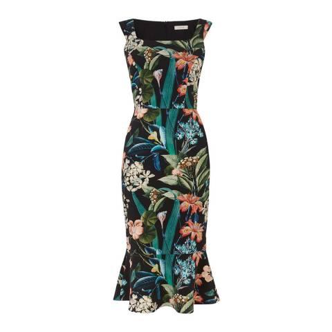 Oasis Multi/Black Long length Hot Tropics Ria Pencil Dress