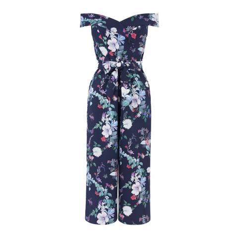 Oasis Multi Blue Bloom Print Jumpsuit