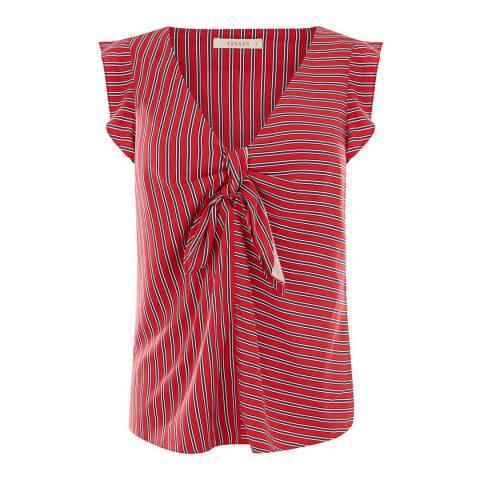 Oasis Multi Red Patched Stripe Tie Front Top