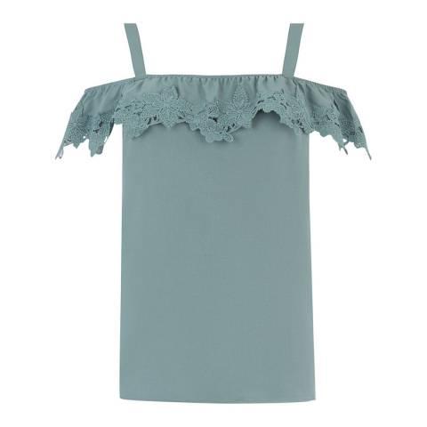 Oasis Khaki Lace Trim Bardot Cami