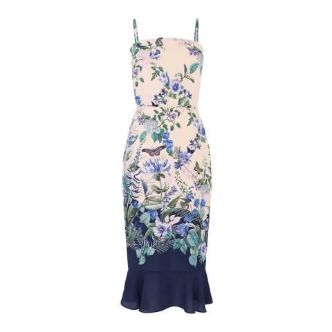 Oasis Multi Natural Square Neck Column Dress