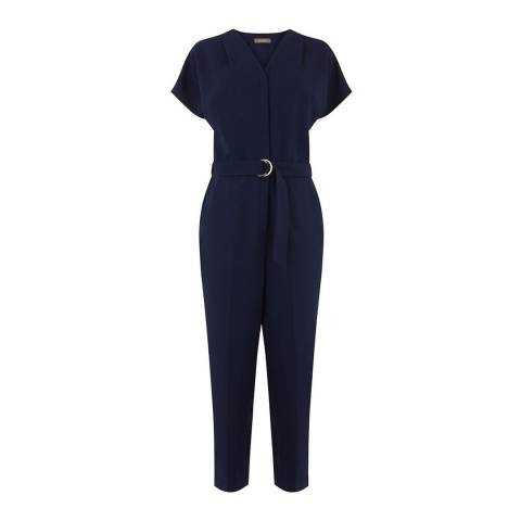 Oasis Navy Elastic Back D Ring Boilersuit