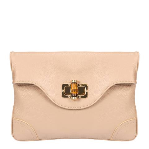Giulia Massari Cipria Leather Clutch Bag