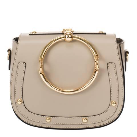 Giulia Massari Taupe Leather Clutch Bag