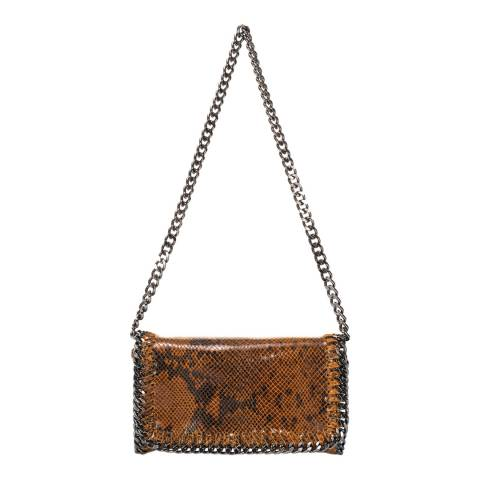 Giulia Massari Brown Snake Print Leather Crossbody Bag