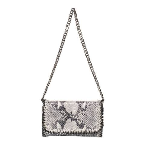 Giulia Massari Grey Snake Print Leather Crossbody Bag