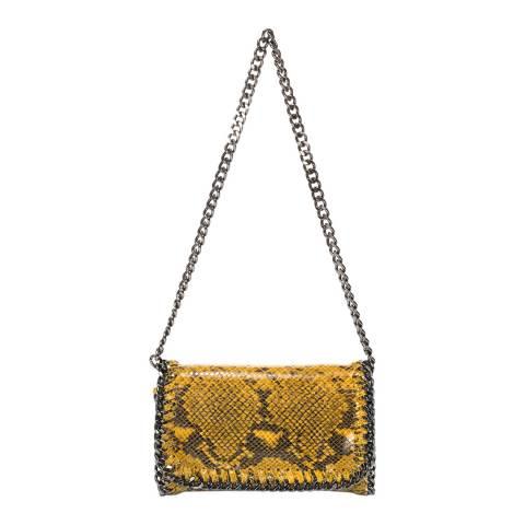 Giulia Massari Yellow Snake Print Leather Crossbody Bag
