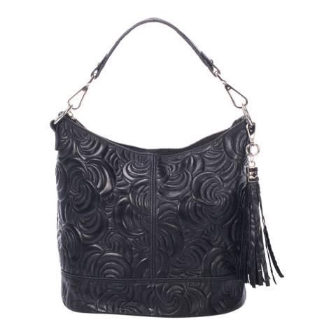 Giulia Massari Black Embossed Suede Shoulder Bag