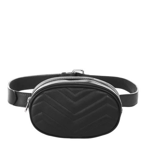 Markese Black Quilted Leather Belt Bag