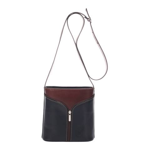 Giulia Massari Brown/Black Leather Crossbody Bag