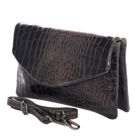 Lisa Minardi Dark Grey Snake Printed Fold Over Clutch