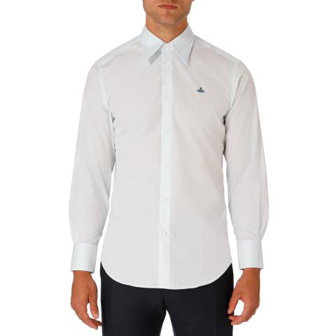 Vivienne Westwood Light Blue Embroidered Logo Cotton Shirt