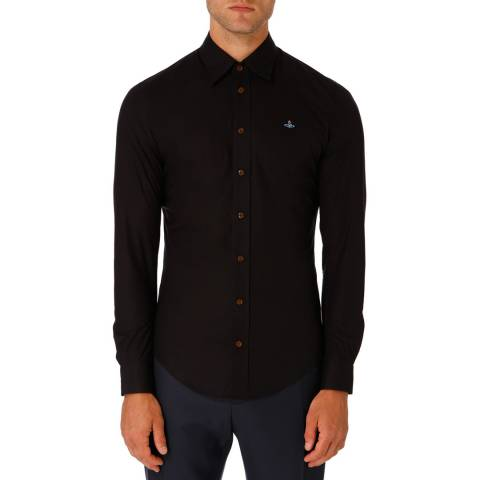 Vivienne Westwood Black Embroidered Logo Slim Cotton Shirt
