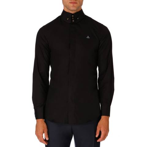 Vivienne Westwood Black Spread Collar Embroidered Logo Shirt