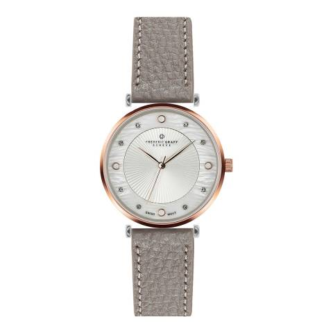 Frederic Graff Women's Grey Lychee Jungfrau Leather Watch 38mm