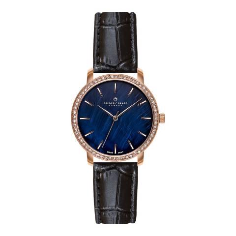 Frederic Graff Women's Black Monte Leone Croc Leather Watch 36mm