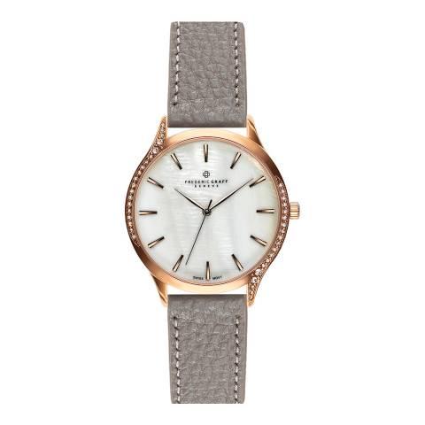 Frederic Graff Women's Grey Lychee Clariden Leather Watch 36mm