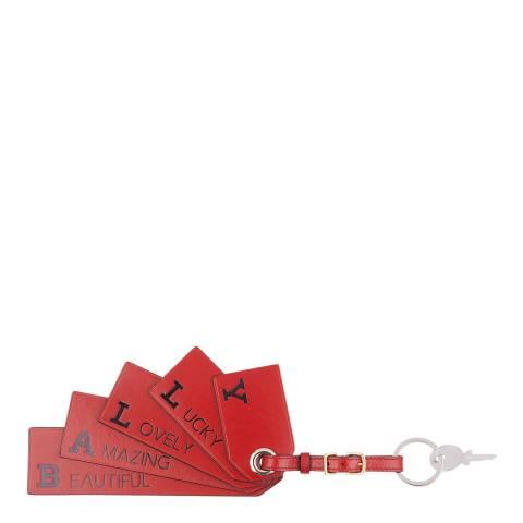 BALLY Red Bally Flag Keychain