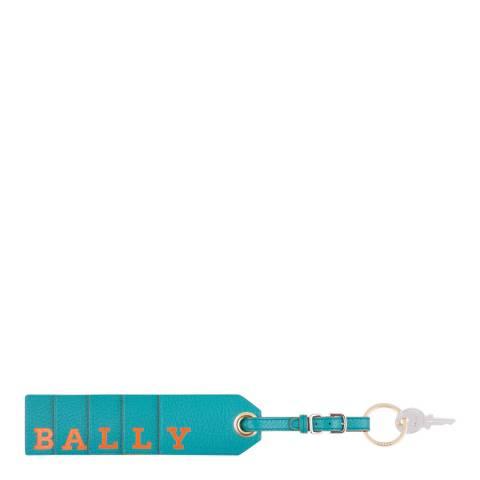 BALLY Blue Bally Flag Leather Keyring