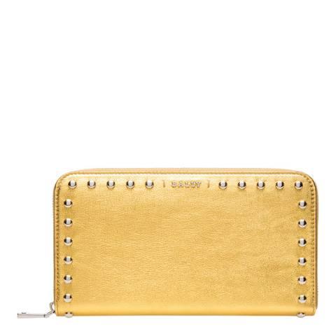 BALLY Gold Zip Around Wallet